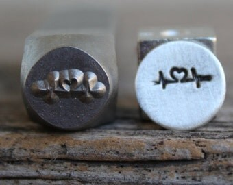Heartbeat-Metal Stamp-8mm Size-Steel Stamp-New Metal Design Stamps-by Metal Supply Chick