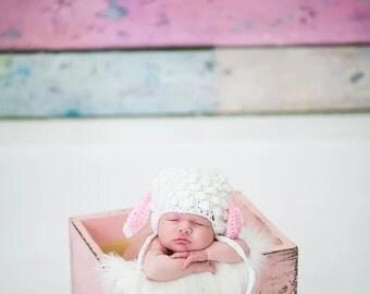 Newborn Lamb Hat Prop