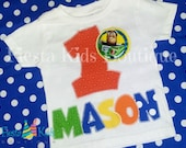1st Birthday boy shirt with name and age applique, toy story theme, personalized