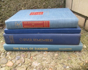 Book Collection BLUE DECOR  - 4 Vintage Books Instant Library Home Decor Photography Props