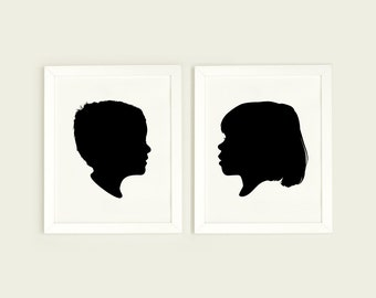 Custom Silhouette Print, Personalized portrait, Minimalist portrait, Silhouette made from photo, silhouette art, Black and White Wall Art
