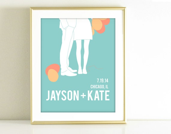 Personalized Wedding Gift - Couples Silhouette -Turquoise and Coral Decor