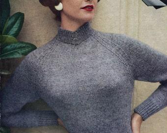 Slim Fit Classic 1950s Raglan Jumper 3 Sizes 34 to 38 Bust Wendy 711 Vintage Knitting Pattern Download Pdf