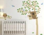 Koala Tree Wall Decal . Owl Tree Wall Decal . Baby Nursery Wall Decal . Forest Nursery Wall Decal . LSWD-0058