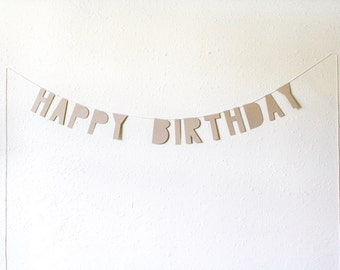 kraft paper banner, HAPPY BIRTHDAY large size - handmade, party banner, word banner, paper goods, home decor, kraft banner, bunting