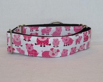 Pig Martingale Dog Collar - 1.5 Inch - fun cute animal farm pink white love happy
