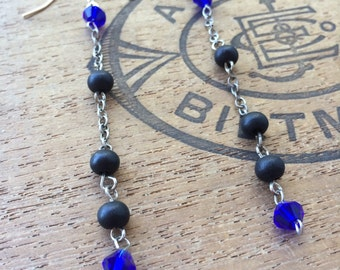 Blue and Black Crsytal Beaded and Silver Chain Long Dangle Earrings