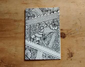 Hand drawn unique zentangle card