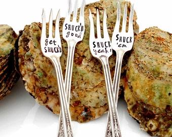 Hand Stamped Oyster Forks. Shuck 'em, Shuck'n good, Shuck yeah,  get Shuck'd. ORIGINAL Design. Seaside Entertaining. Seafood. Vintage Silver