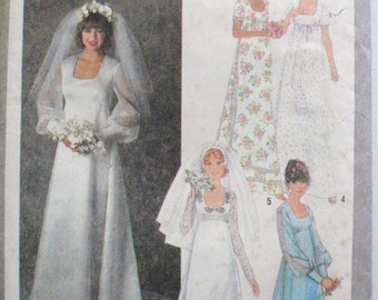Women's Vintage Bridal Pattern -  Bridal and Bridesmaid Dress, Wedding Gown - Simplicity 8392 - Size 8, Bust 31 1/2