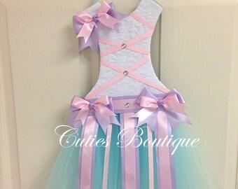 Pink Lavender Aqua Tutu Dress Hair Bow Holder