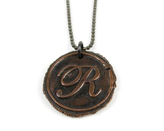 Letter R Necklace | Wax Seal Initial Pendant Necklace in Copper | Double-Sided Letters | Handcrafted Personalized Monogram Jewelry