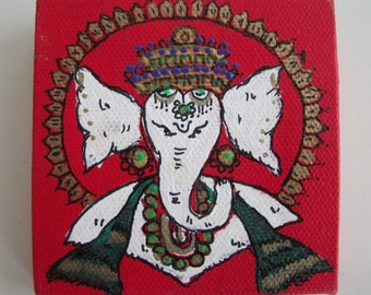 "Original miniature Painting - ""Ganesha""- Acrylic and Ink on Canvas,measures 4"" X 4"""
