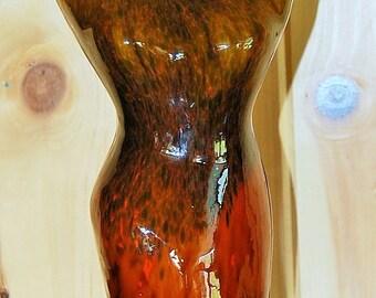 Murano Italian art glass hand blown vase of a woman