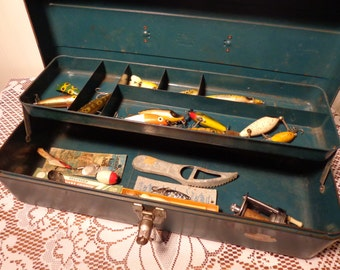 Vintage Metal Fishing Tackle Box by Union with Lures and Supplies - Union Green Steel Chest  -  13-1256