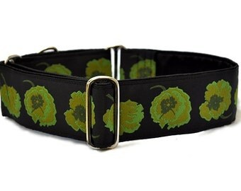 Martingale Collar: Olive Poppies Jacquard - 2 Inch