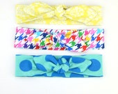 Top Knot Cotton Jersey Headband, Head Wrap, Tie Headband- for all ages