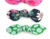 Top Knot Bow Hair Clip, Pony Tail Hair Tie in Pink, Floral Green, Polka Dot