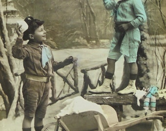 Vintage French New Year Postcard - Little Boys with Snowballs