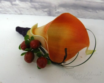 Fall wedding boutonniere, Groom groomsmen boutonniere, Orange calla lily boutonniere