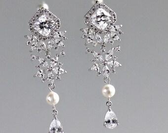 Crystal Bridal Earrings, Chandelier Earrings, Long Pearl Drop Earrings, Bridal Jewelry, LISA  Long