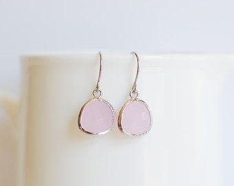 Samantha Earrings - Silver/Pink
