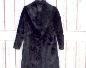 Vintage long black rabbit fur coat/black fur mid length winter coat/ladies small/medium