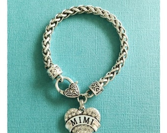 GORGEOUS, CLASSY, and SPARKLY - Sterling Gigi Heart Charm Leather Bracelet