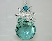 m/w Swarovski Crystal 30mm Aqua Logo Ball Clear Leaves LONG Strand Pineapple SunCatcher Ornament, Includes an Elements Tag for Authenticity