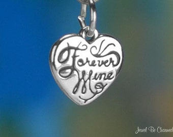 Sterling Silver Forever Mine Charm Miniature Heart Love Tiny Solid 925