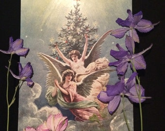 Victorian Christmas Postcard - Angels  - Christmas Tree - Candles - Clouds - Stars