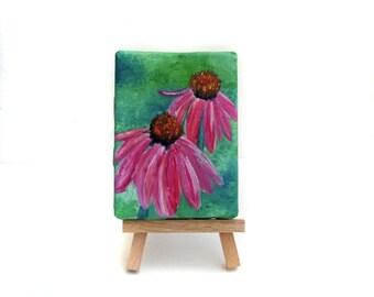 Purple Coneflower Painting - Echinacea Art - Echinacea Painting - Coneflower Art - Wildflower Painting - Wildflower Art - Mini Painting