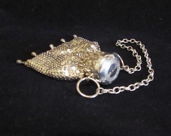 Silver Gate Top Coin Purse Vintage Beggars Bag Accordion Purse Mesh Purse Art Deco