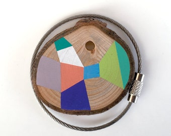 Wood keychain with stainless  cable wire option plus initial on other side keyring ,pink, purple, white, green geometric triangle shapes