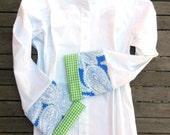 Blue Green White Paisley w Green Gingham Bell Sleeve, LB18