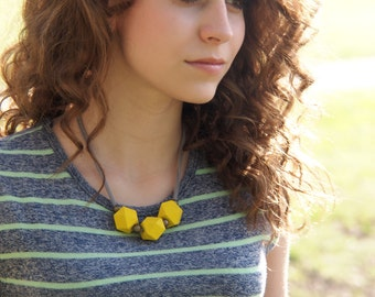 minimalist sunshine yellow necklace // geometric // modern // polygon // wood