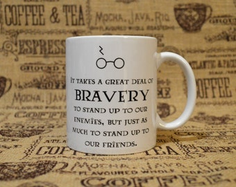 Bravery White Ceramic Mug - Inspired by Harry Potter and the Sorcerer's Stone