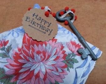 Vintage hankie, Birthday, wedding hanky, handky, handkerchief with KEY BIRTHDAY or bridal gift - many available!
