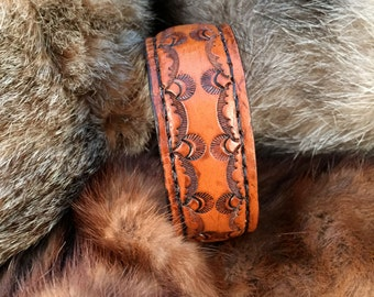 Small Custom Hand Tooled Leather Cuff