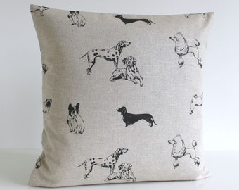Linen Pillow Cover, 18 Inch Pillow Cover, Dogs Pillow Cover, 18x18 Pillow Sham, Cushion Cover, Throw Pillow Cover - Woofy Black