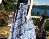 Vintage Sleeveless LACE Blue & White CAFTAN Dress L XL