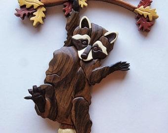 Raccoon on Branch Intarsia Wall Hanging Wood Decor Wall Decor Coon Bandit Raccoon Carving Wood Intarsia Raccoon Decor Autumn Decoration