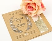 Rustic Wedding Invitation Suite, Country Wedding Invitation - Purchase this deposit to  get started, Wreath