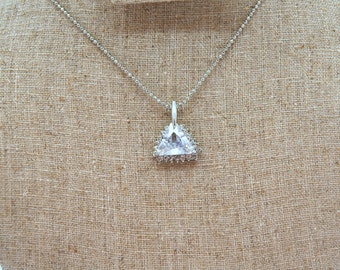 Bridal Necklace, Dainty Cubic Zirconia Necklace, Bridal Jewelry, Solitaire Necklace, Layered Necklace, Wedding Accessories