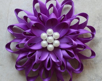 Flower Corsage, Purple Corsage, Purple Flower Pin, Purple Flower Brooch Pin, Purple Dress Pin, Purple Flowers, Flower Corsages with Pearls