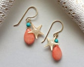 Turquoise Coral Drop Earrings, Starfish Drop Earrings, Real Starfish, Pink Coral Dangle, Peach Coral Drops, Beach Charms