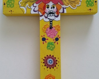 Colorful and festive day of the Dead Wood Cross dia de los muertos