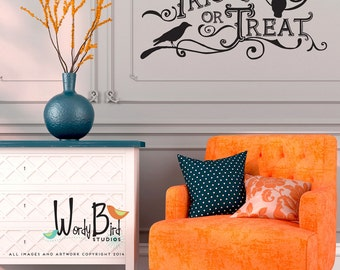 Halloween wall decal - Trick or Treat in hand drawn style - Halloween Decor - trick or treat sign