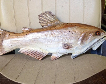 """Channel Catfish 16"""" chainsaw wood carving indoor outdoor sport fish sculpture rustic log cabin wall mount taxidermy original realistic art"""