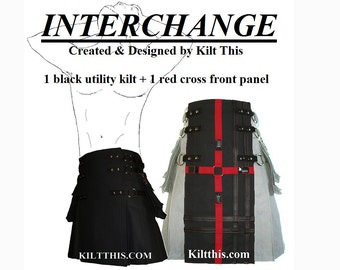 Interchangeable Black 10oz Canvas Snap Utility Kilt plus Red Cross Gear Apron Set Custom Fit Adjustable with Large Cargo Pockets